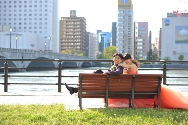 新潟市結婚式場 ブレストン 万代テラス 信濃川 萬代橋 前撮り ロケーションフォト