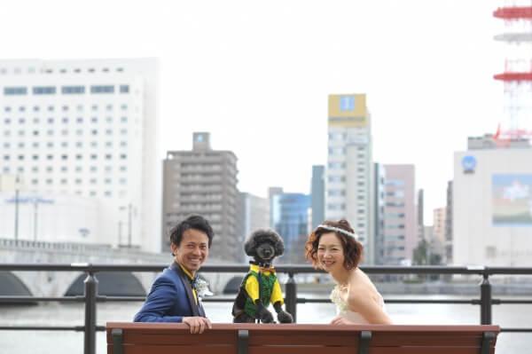 新潟市結婚式場 ブレストン やすらぎ堤 万代テラス 信濃川 前撮り 愛犬 かつお ファーストミート 愛犬 犬